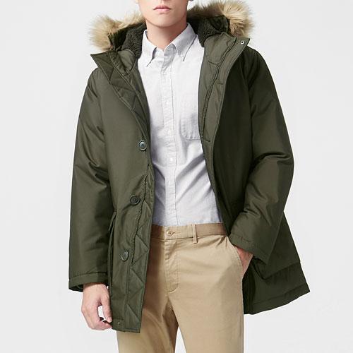 極暖羽絨長版外套-男