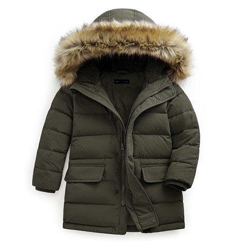 極暖羽絨長版外套-童
