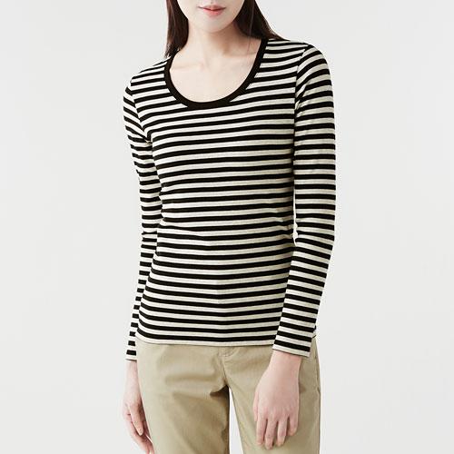 棉質彈性羅紋條紋長袖T恤-女
